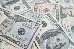 Dollar Banknotes background. Different dollar banknotes in cash Royalty Free Stock Images