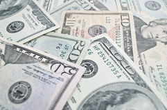 Dollar Banknotes background. Different dollar banknotes in cash Royalty Free Stock Photography