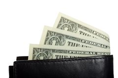 Dollar banknotes in black leather wallet Stock Images