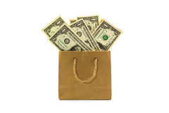 Dollar banknotes in brown paper bag. Stock Photo