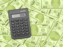 Dollar banknotes and calculator Stock Photography
