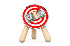 Dollar Banknotes in Center of Archery Target Royalty Free Stock Photo