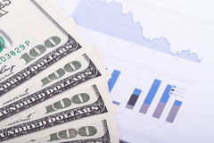 Dollar Banknotes on Chart Graphs Stock Images