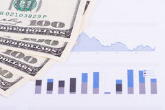 Dollar Banknotes on Chart Graphs Royalty Free Stock Photos