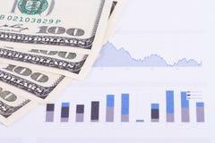 Dollar Banknotes on Chart Graphs Royalty Free Stock Photos
