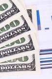 Dollar Banknotes on Chart Graphs Royalty Free Stock Image