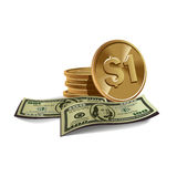 Dollar banknotes and coins Stock Photos