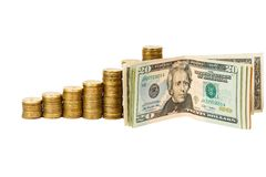 Dollar banknotes and coins Royalty Free Stock Photo