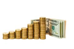 Dollar banknotes and coins Stock Image