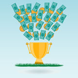 Dollar banknotes and coins flying in a Golden trophy Cup Stock Photos