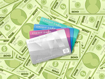 Dollar banknotes and credit cards Stock Photography
