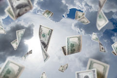 Dollar Banknotes Falling Stock Photography