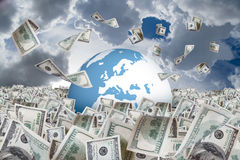 Dollar Banknotes Falling on Money Farm and around Earth. One hundred dollar banknotes flying and falling on money farm and around earth globe, cloudy background stock image