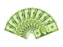 Dollar banknotes fan. Green currency cash notes. Investment vector concept Royalty Free Stock Images