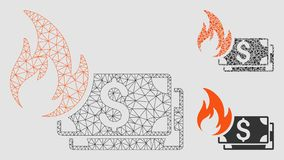 Dollar Banknotes Fire Vector Mesh 2D Model and Triangle Mosaic Icon royalty free illustration