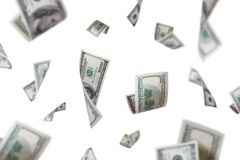 Dollar Banknotes Flying with Depth of Field Royalty Free Stock Images