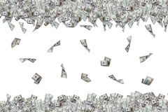 Dollar Banknotes Flying and Falling Down Royalty Free Stock Photos