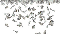 Dollar Banknotes Flying and Raining Stock Image