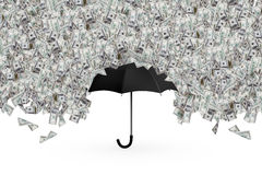 Dollar Banknotes Flying and Raining on Umbrella Royalty Free Stock Photo
