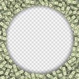 Dollar banknotes frame vector illustration. Many overlapping green money bills forming round frame. Multipurpose design element Royalty Free Stock Photo