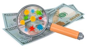 100 dollar banknotes with germs and bacterias under magnifying glass. 3D rendering stock photos