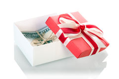 Dollar banknotes in Gift box Stock Photo