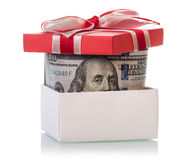 Dollar banknotes in Gift box Stock Photography
