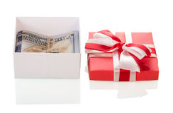 Dollar banknotes in gift box. On white background Royalty Free Stock Image
