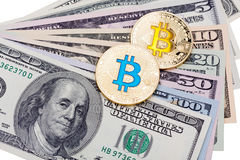 Dollar banknotes with golden cryptocurrency blue and yellow bitc Royalty Free Stock Image