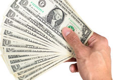 Dollar banknotes in hand. On isolate background stock photos