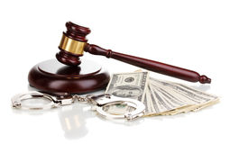 Dollar banknotes, handcuffs Stock Images