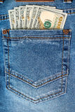 Dollar banknotes in jeans pocket Stock Images