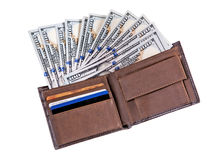Dollar banknotes in leather wallet Stock Photo