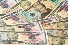 Dollar banknotes lying growing Royalty Free Stock Images