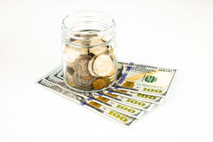 Dollar banknotes and money coins Royalty Free Stock Photo