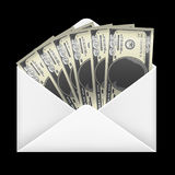 100 dollar banknotes money inside white envelope. A 100 dollar banknotes money inside white envelope Stock Image