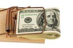 Dollar banknotes in mouse trap Royalty Free Stock Photos