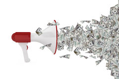 Dollar Banknotes out of Megaphone royalty free stock photography