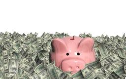 Dollar banknotes and piggy bank Royalty Free Stock Photo