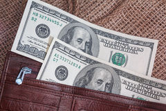 Dollar banknotes in a purse Royalty Free Stock Photos