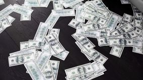 Dollar banknotes on the room floor, new business opportunities, prosperity. Stock footage stock photo