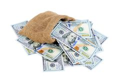 Dollar banknotes in a sack  isolated Stock Photography