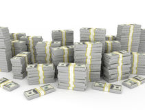 Dollar banknotes stack. Over white background Royalty Free Stock Photography