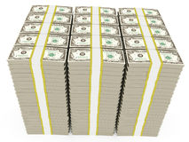 Dollar banknotes stacked. 3d illustration of dollar banknotes stacked - over white background Stock Photography