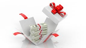 100 dollar banknotes stacks in opened giftbox with red ribbon. On white background vector illustration