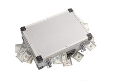 Dollar banknotes sticking out of an aluminum suitcase Royalty Free Stock Photo