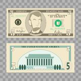 Dollar banknotes, us currency money bills - 5 dollar isolated on transparent background. Vector illustration in flat and cartoon s stock illustration