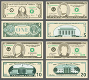 Dollar banknotes, us currency money bills vector set. Stock Photos
