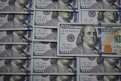 100 dollar banknotes of the usa Stock Photo