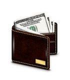 Dollar banknotes in wallet over white background Stock Photo